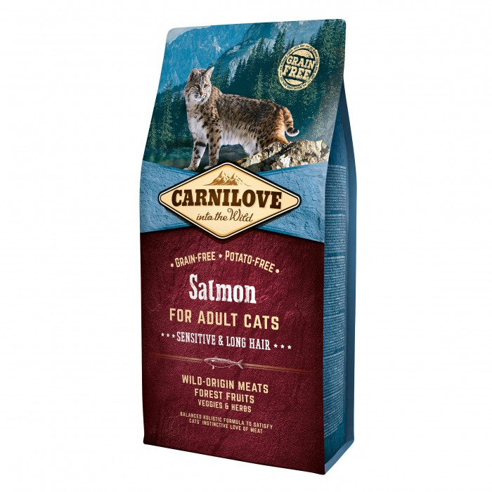 Alimentation pour chat - CARNILOVE Adult Sensitive & Long Hair Saumon pour chats