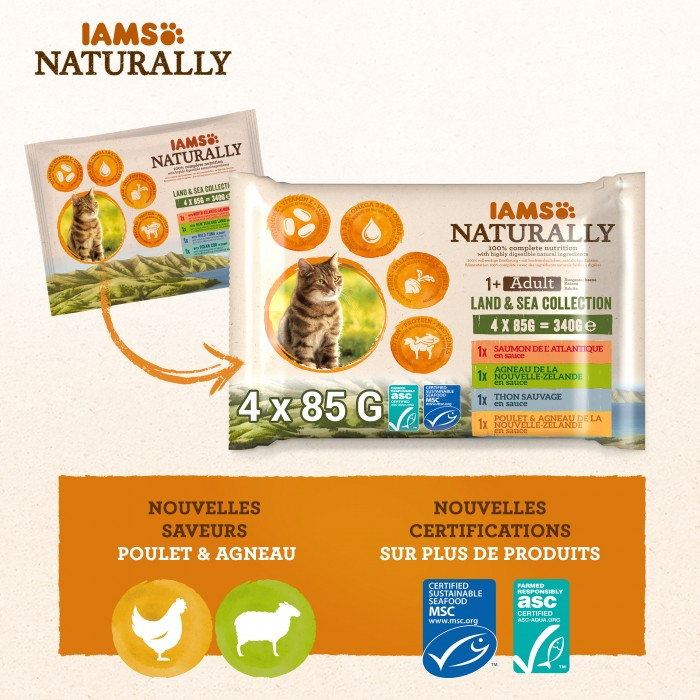 Alimentation pour chat - IAMS Naturally Saveurs Terre & Mer - multipack adulte pour chats