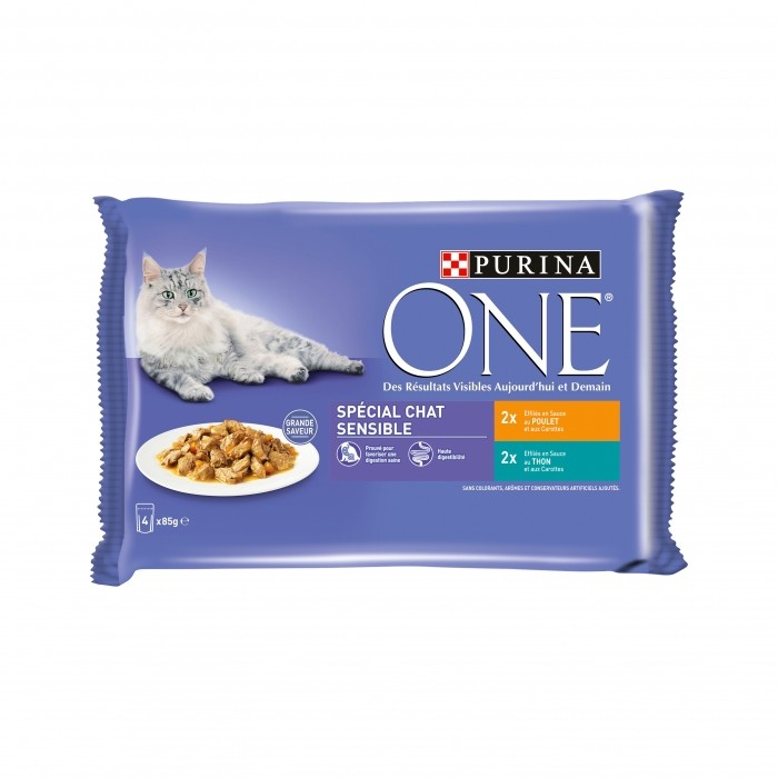 Alimentation pour chat - PURINA ONE Chat Sensible -  4 x 85g pour chats