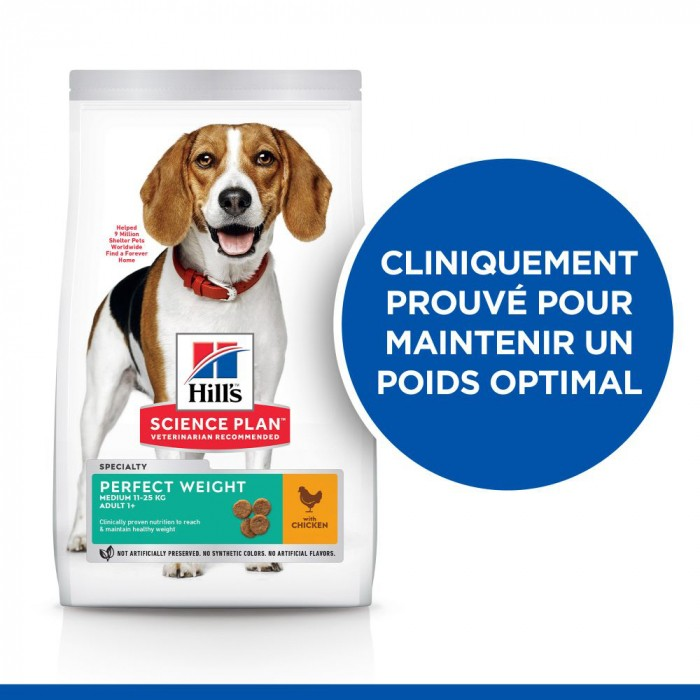Alimentation pour chien - Hill's Science Plan Perfect Weight Adult Medium pour chiens