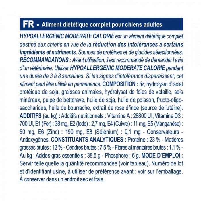 Alimentation pour chien - Royal Canin Veterinary Hypoallergenic Moderate Calorie pour chiens